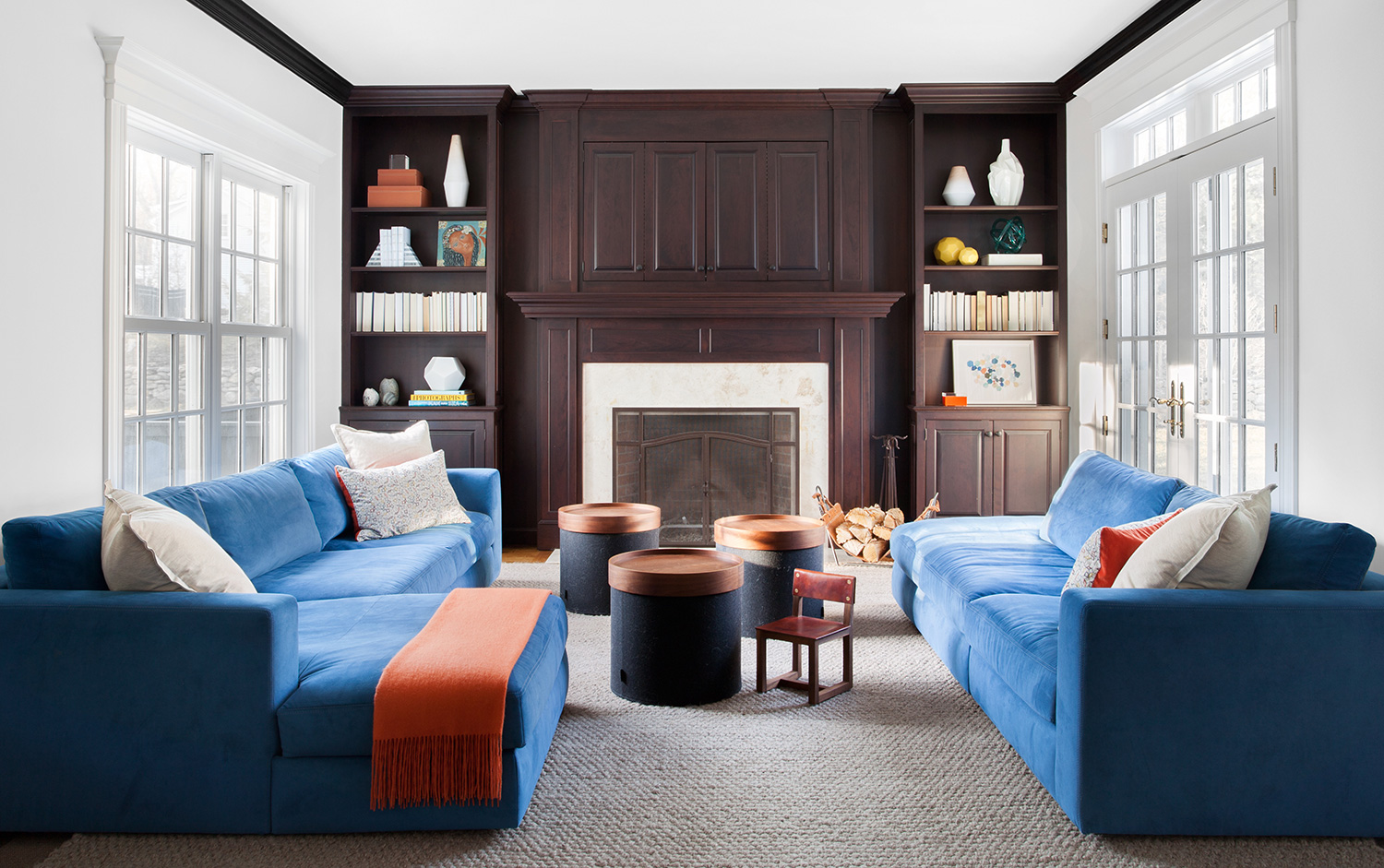 Now That The Family Had E To Make Use Of Large Scale Sofas Were Chosen Provide Lots Comfortable Seating Electric Blue And Autumn Orange