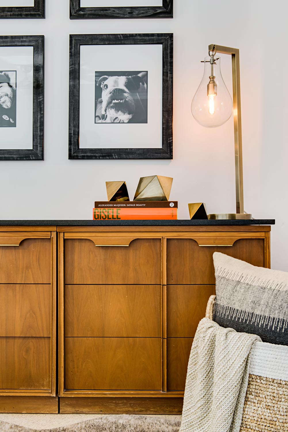 Its very important that your home doesnt feel like it just popped out of a showroom having moments that tell a story i e the existing credenza and